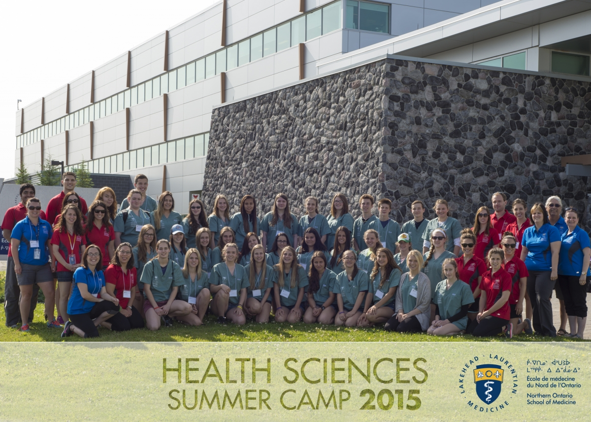 Health Sciences Summer Camp 2015 group photo of campers, team leads, and NOSM staff