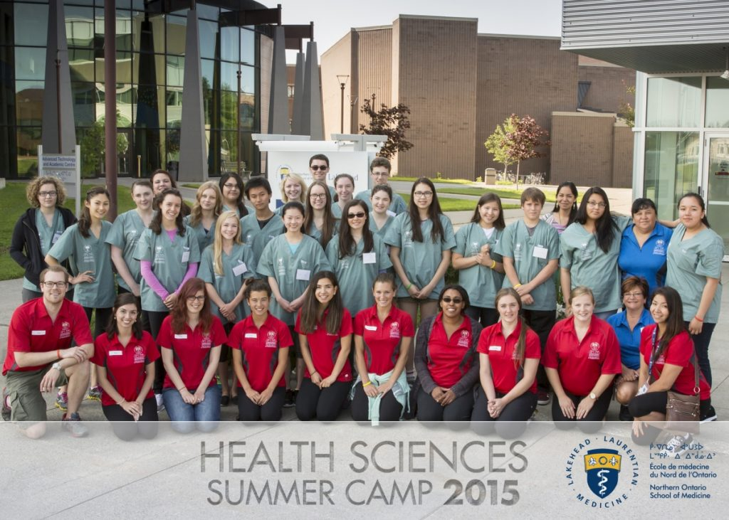 Group photo of Health Sciences Camp 2015 campers, team leads, and NOSM staff