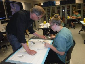 Surgeon instructs camper in proper suturing technique in lab
