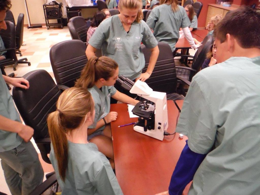 Campers observe fellow camper using a microscope