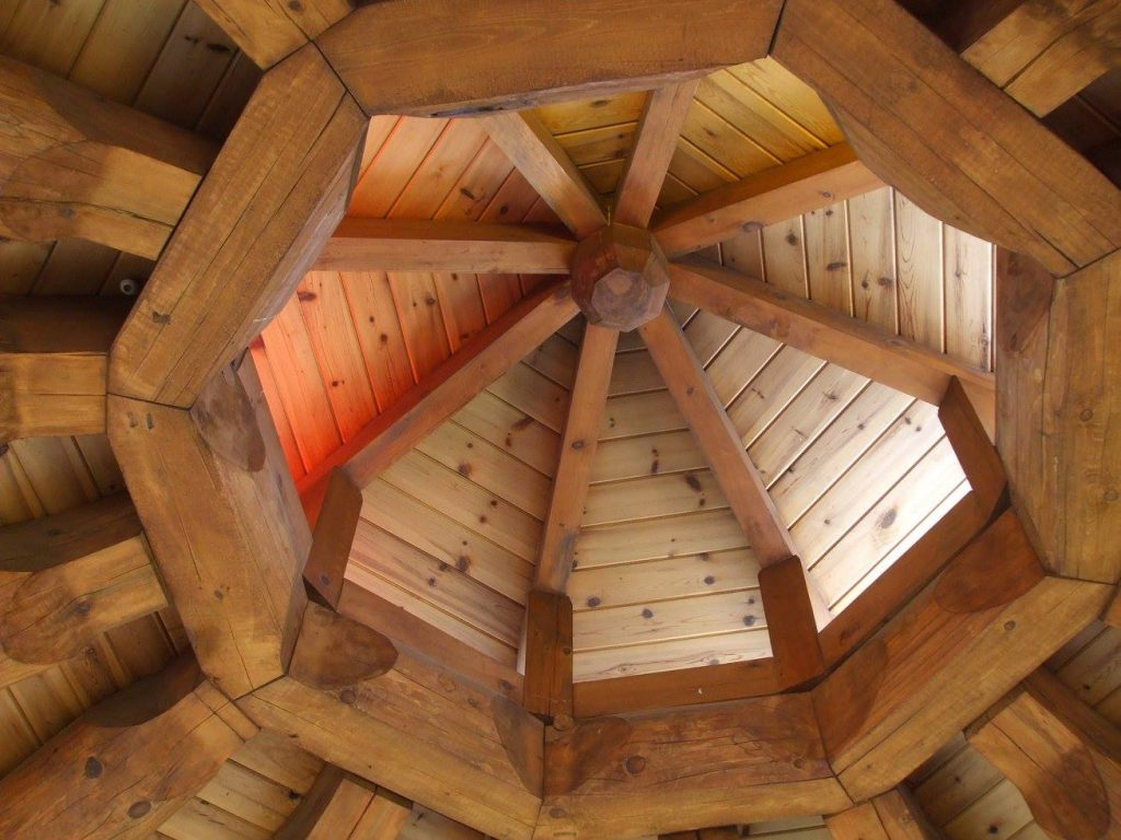 Photo of ceiling of the arbor structure at Cambrian College