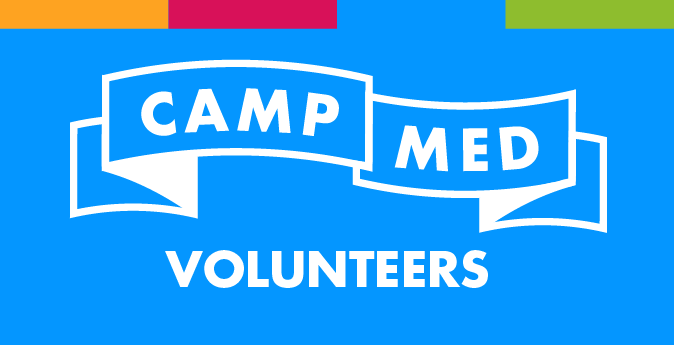CampMed Volunteers banner on blue background with equally sized yellow, red, blue, and green bars across the top