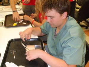 Close up of camper practicing suturing technique in lab