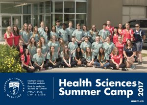 Group photo of Health Sciences Camp 2017 campers, team leads, and NOSM staff