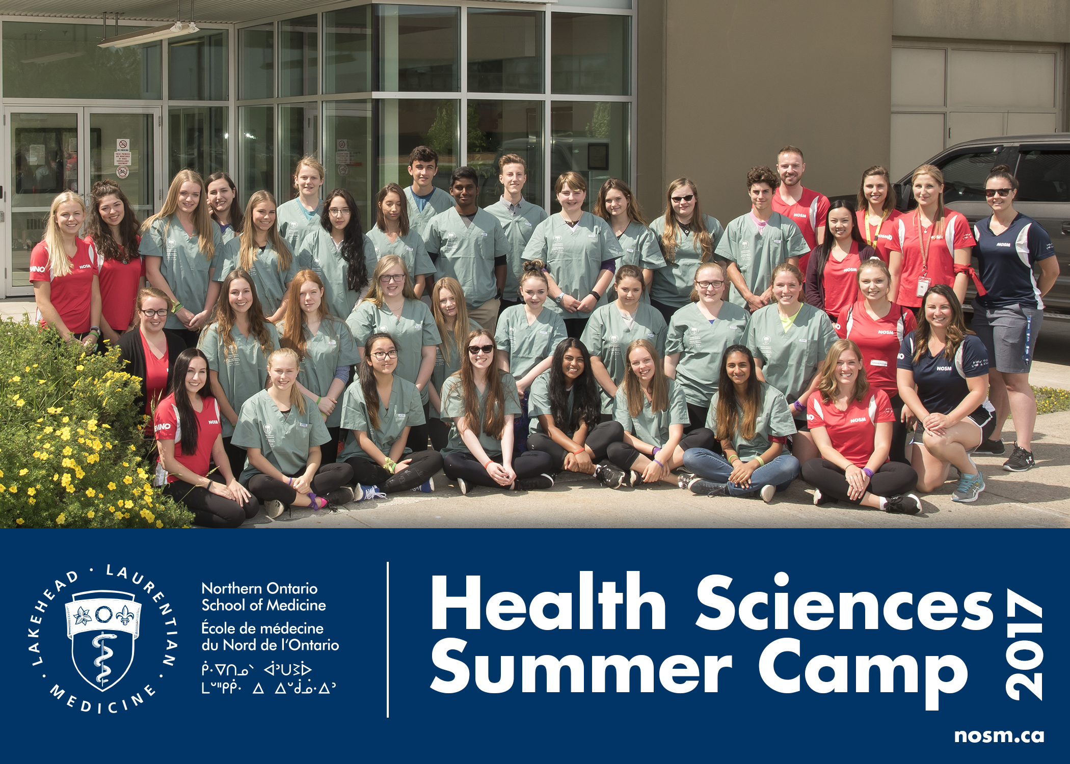 Health Sciences Summer Camp 2017 group photo of campers, team leads, and NOSM staff