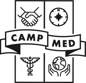 "Black and white CampMed logo. Top left: image of a handshake. Top right: image of a compass. Banner across the middle with the words ""CampMed"". Bottom left : image of a caduceus. Bottom right: image of world globe held by two hands"