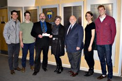 Representatives from the Scottish Rite Foundation present a cheque to Gail Brescia, Manager of Advancement at NOSM.