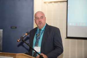 Keith P. Hobbs, Mayor of City of Thunder Bay at podium
