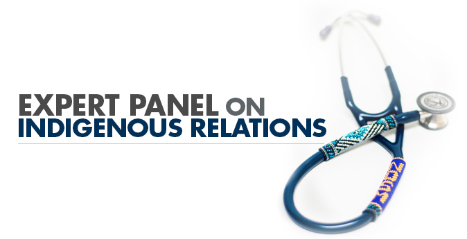 Image reading Expert Panel on Indigenous Relations with a photo of a stethoscope with Indigenous beading on it.