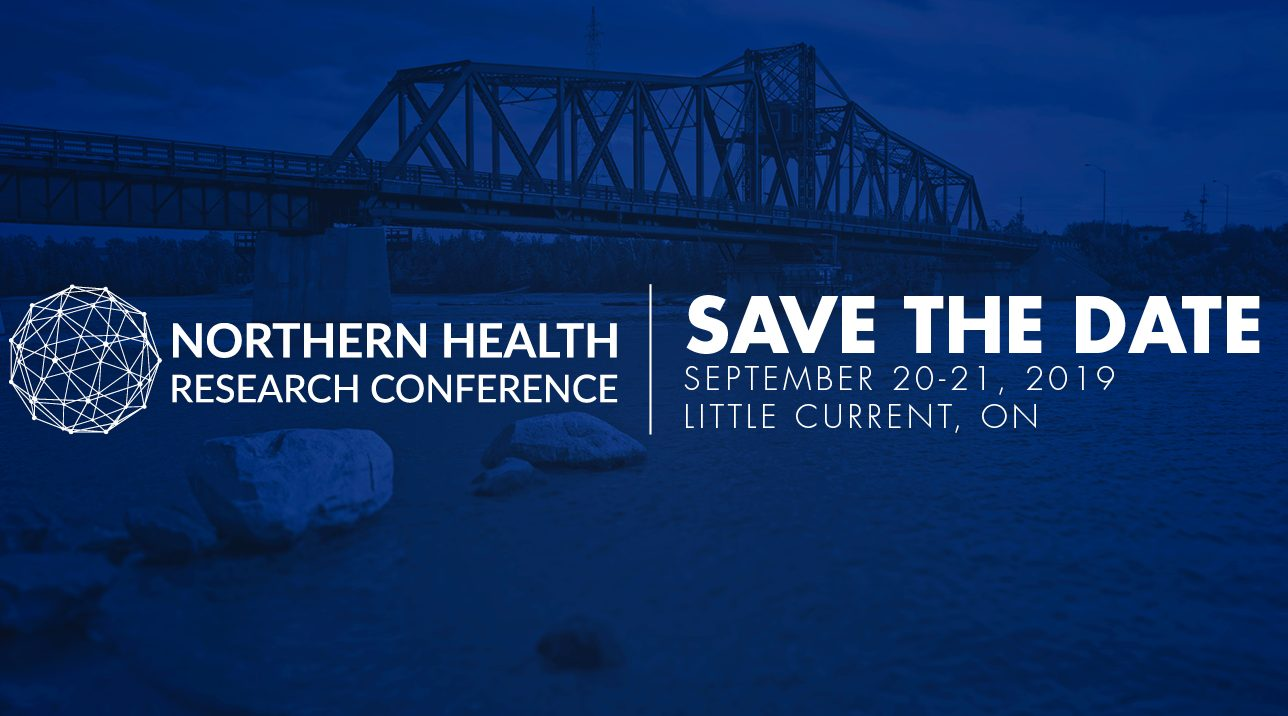 Save the date for NHRC 2019 in Manitoulin. Dark blue image with a large bridge over a river at dusk.