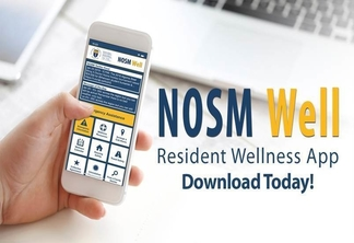 NOSM well resident wellness app shown on mobile phone screen