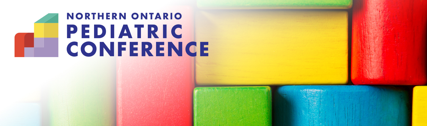 Seventh Annual Northern Ontario Pediatrics Conference Banner featuring building blocks in primary colours