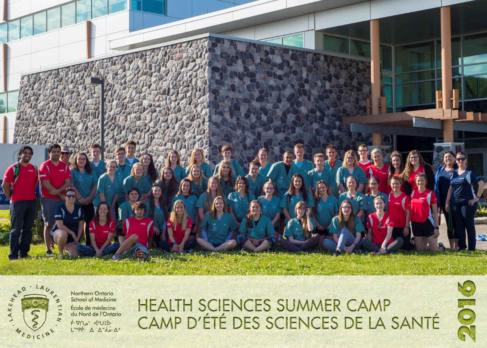 Health Sciences Summer Camp 2016 group photo of campers, team leads, and NOSM staff