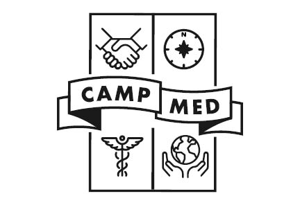 Image with four boxes, and the words Camp Med through the middle. The images are of a handshake, compass, globe, and caduceus.