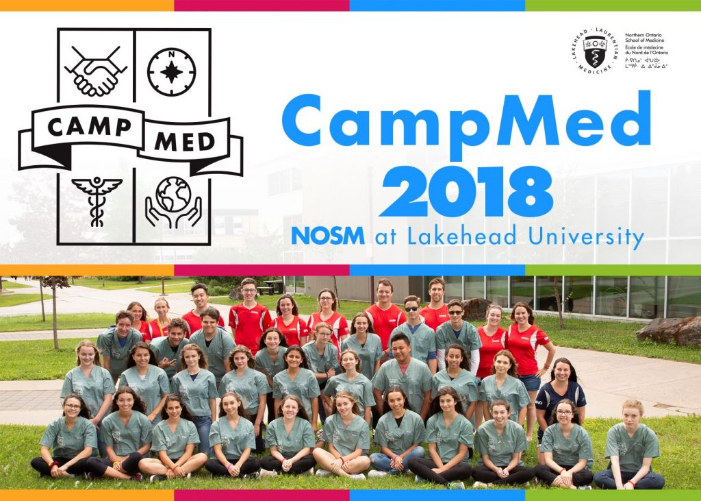 CampMed 2018 group photo of campers, team leads, and NOSM staff at Lakehead University