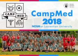 CampMed 2018 group photo of campers, team leads, and NOSM staff at Laurentian University