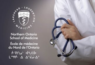 Photo of a person wearing a white doctor's coat, and holding a stethescope. The NOSM logo is featured to the left of the individual.
