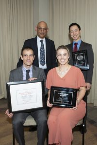 Dr. Saleem Malik, Internal Medicine Faculty Member, who represented the Postgraduate Education leadership at the event (top L) presented the awards to recipients: Dr. Vincent Le (top R), Dr. Frédéric Sarrazin (bottom L), and Ms. Sarah Cannell (bottom R).
