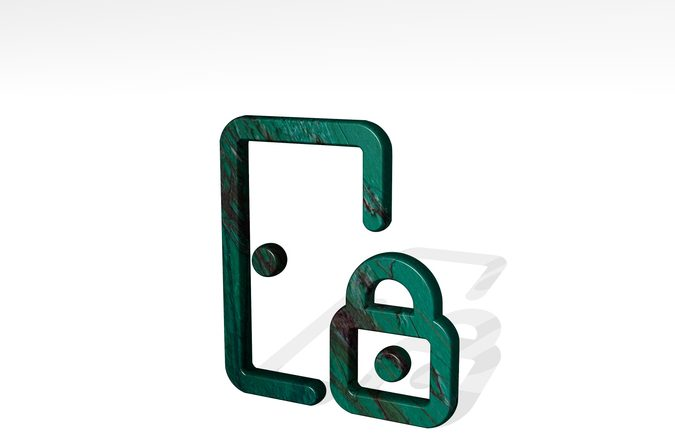 login lock casting shadow from a perspective. A thick sculpture made of metallic materials of 3D rendering